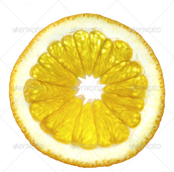 Slice of an orange on a white background. - Stock Photo - Images