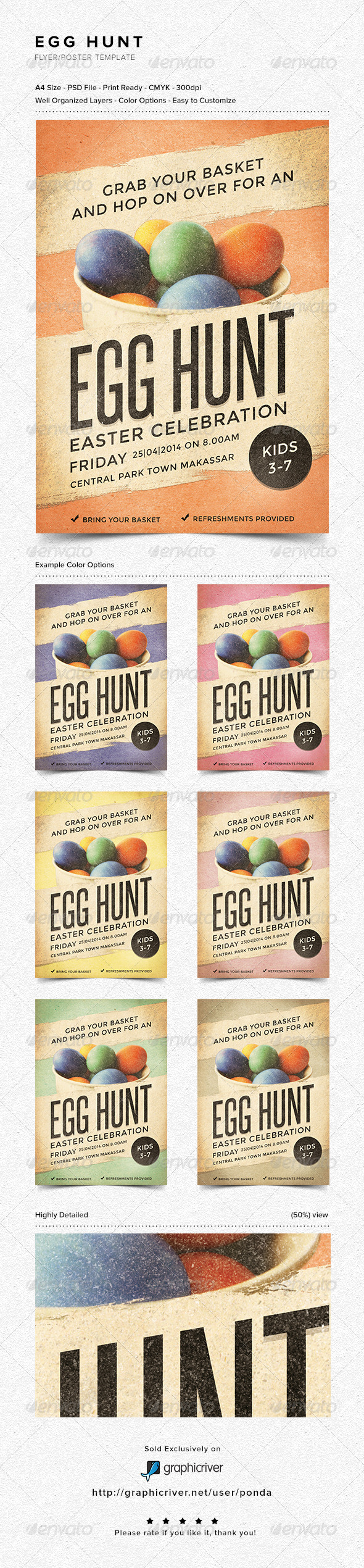 Egg Hunt Flyer/Poster Template - Holidays Events