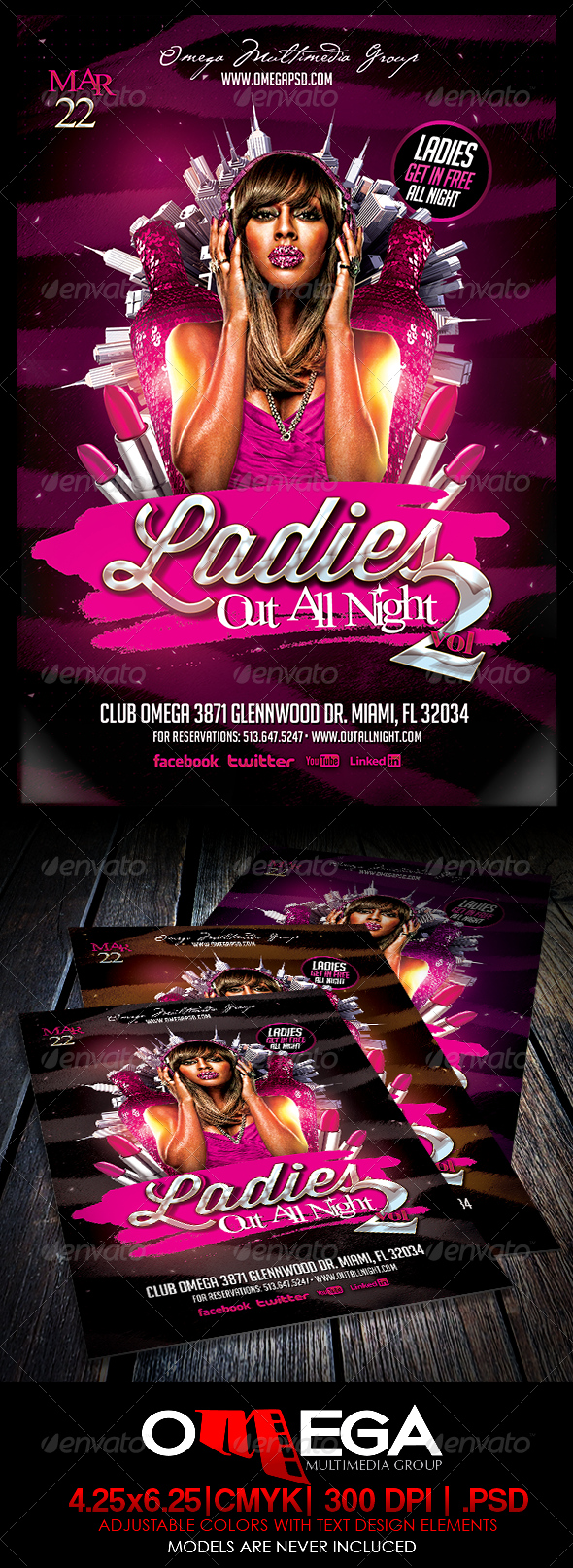 Ladies Out All Night V2 - Events Flyers