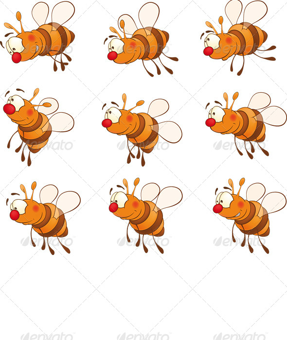 Set of Bees Cartoon  - Animals Characters