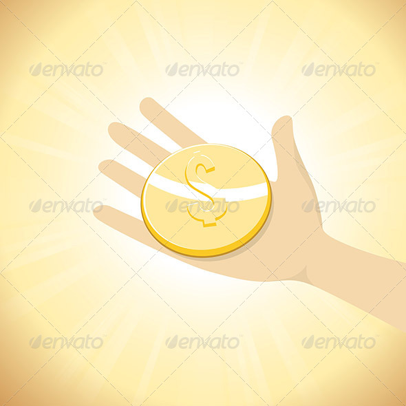 Dollar Coin in Hand - Concepts Business