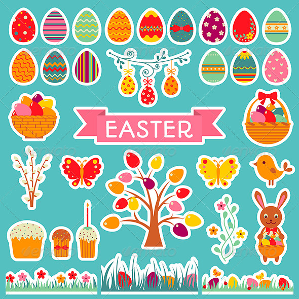 Set of Easter Stickers. - Seasons/Holidays Conceptual