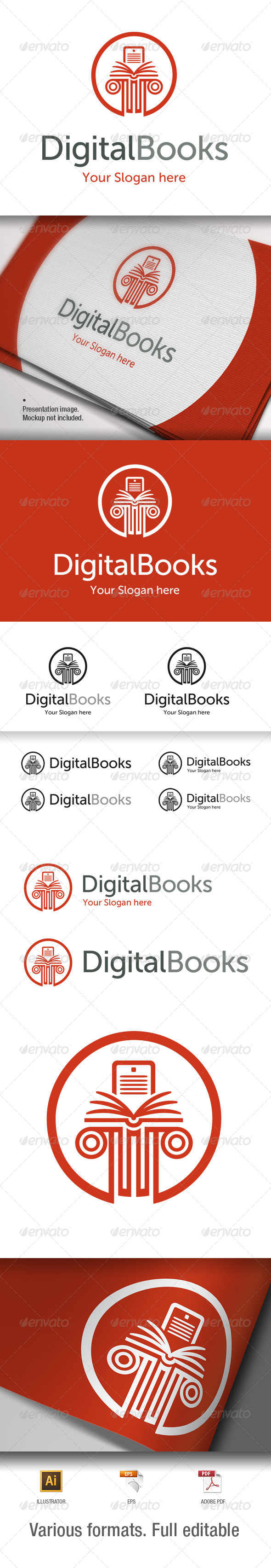 Digital Books Logo Template - V1 - Objects Logo Templates