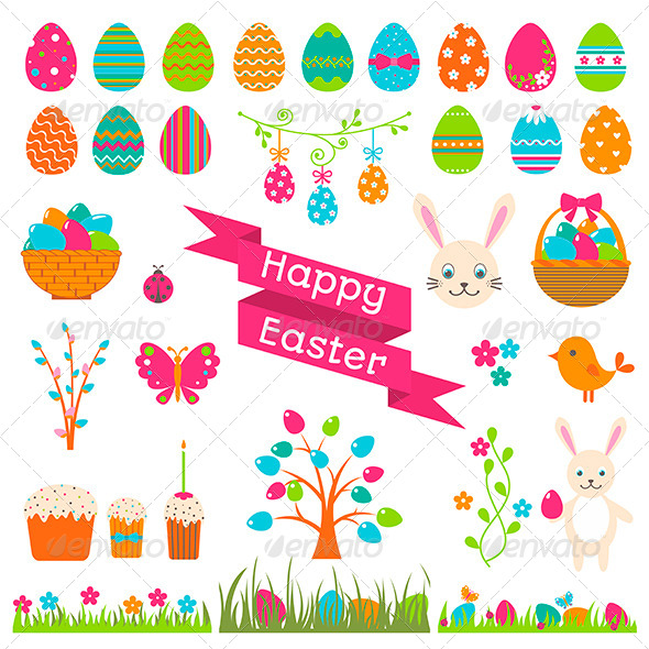 Set of Easter Flat Elements - Seasons/Holidays Conceptual