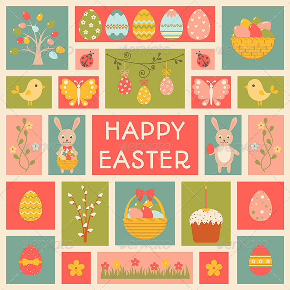 Holiday Card with Easter elements. - Seasons/Holidays Conceptual