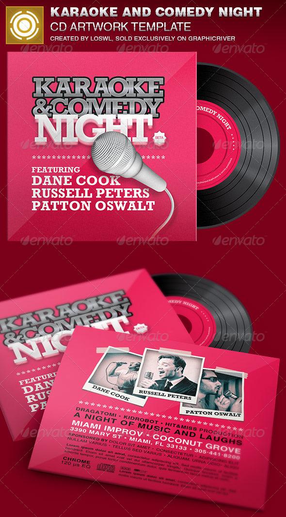 Karaoke and Comedy Night CD Artwork Template - CD & DVD Artwork Print Templates