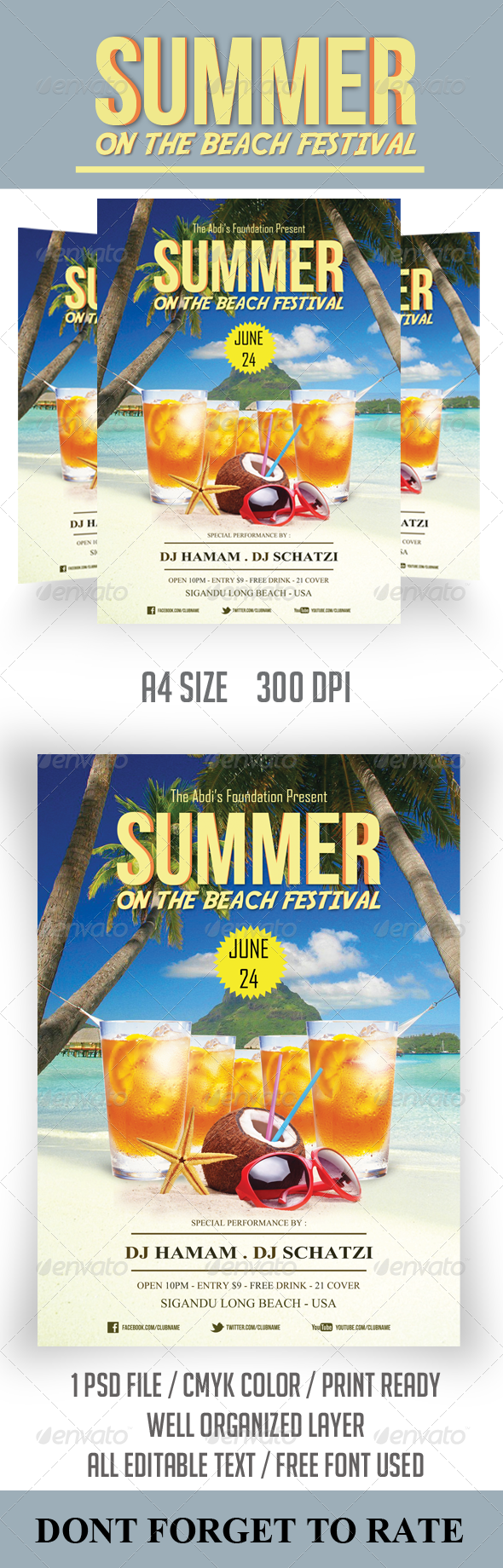 Summer Festival Flyer Template - Clubs & Parties Events