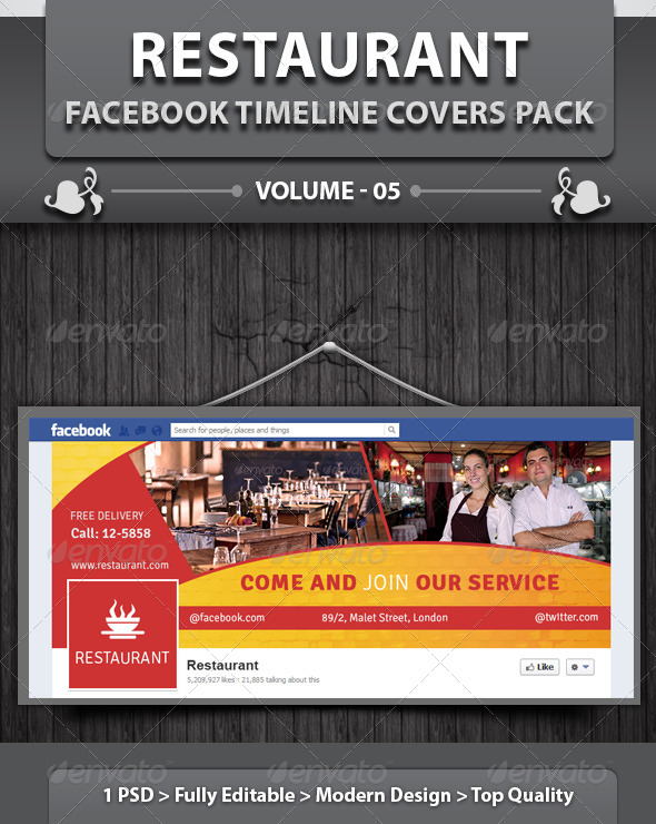 Restaurant Business FB Timeline | Volume 12 - Facebook Timeline Covers Social Media
