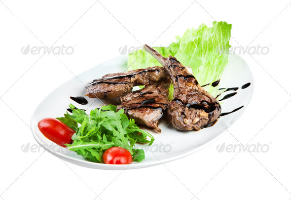 roast veal on the white - Stock Photo - Images