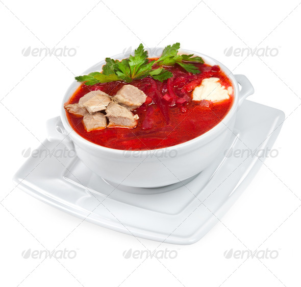 borscht - beet soup - Stock Photo - Images