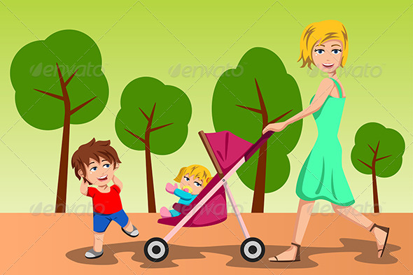 Mother Walking with her Kids - People Characters
