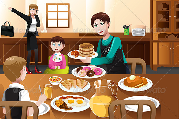 Stay at Home Father Eating Breakfast with his Kids - People Characters