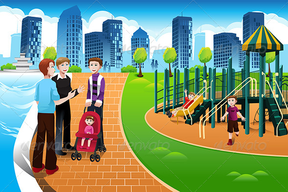 Father and their Kids in the Playground - People Characters