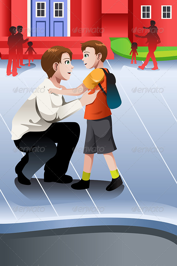 Father Picks Up his Son from School - People Characters