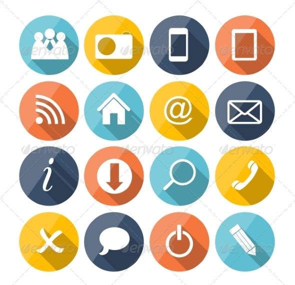 Flat Icon Set for Web - Web Technology