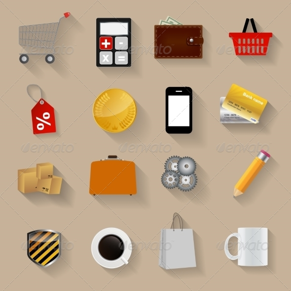 Shopping Flat Icons Set Vector Illustration - Web Technology