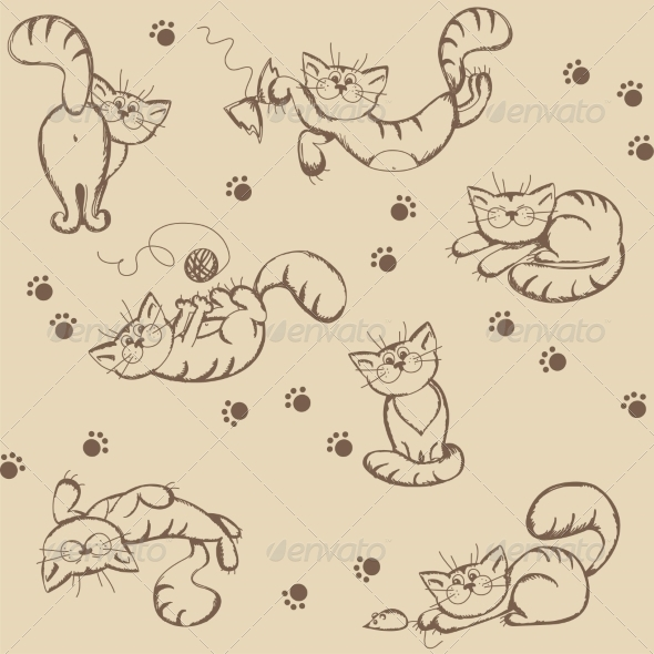 Seamless Background with Playful Cats - Patterns Decorative