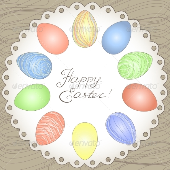 Happy Easter Card - Decorative Symbols Decorative