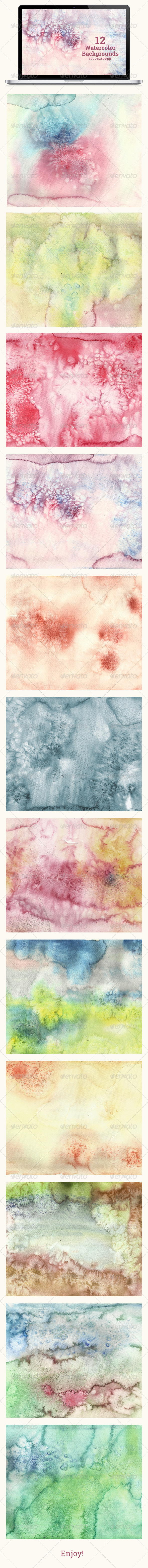 Set of 12 Watercolor Backgrounds - Abstract Backgrounds