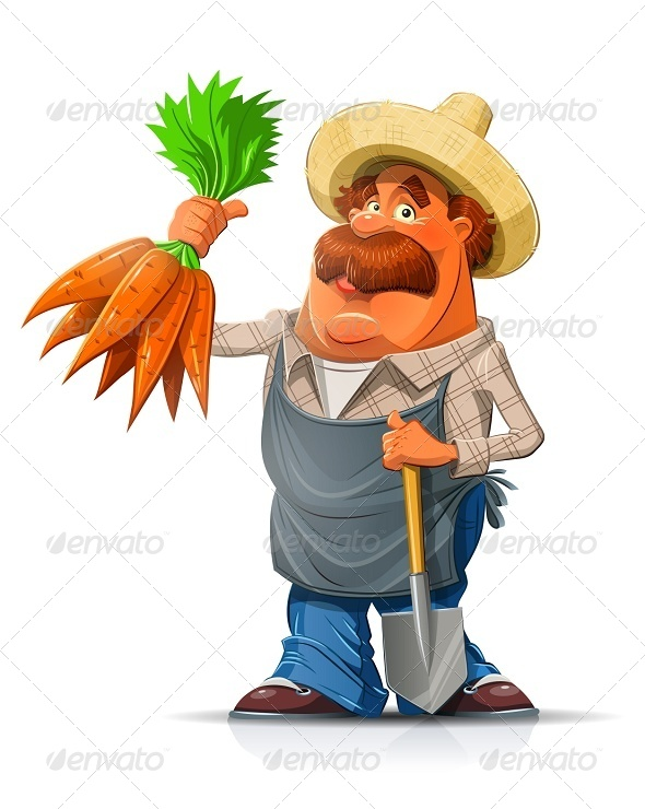 Gardener with Carrots and Shovel - People Characters