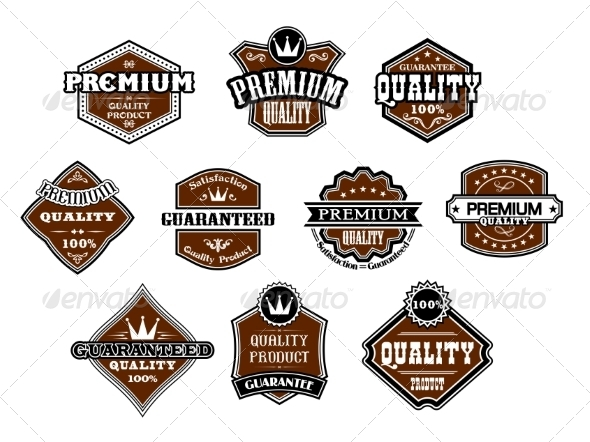Collection of different Premium and Quality Labels - Retail Commercial / Shopping