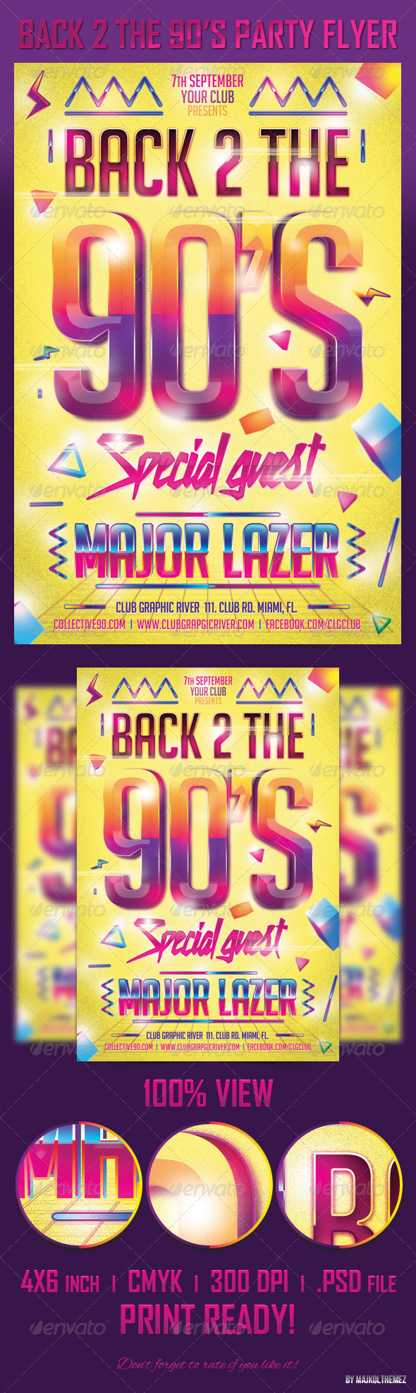 Back 2 the 90's Party Flyer Template - Clubs & Parties Events