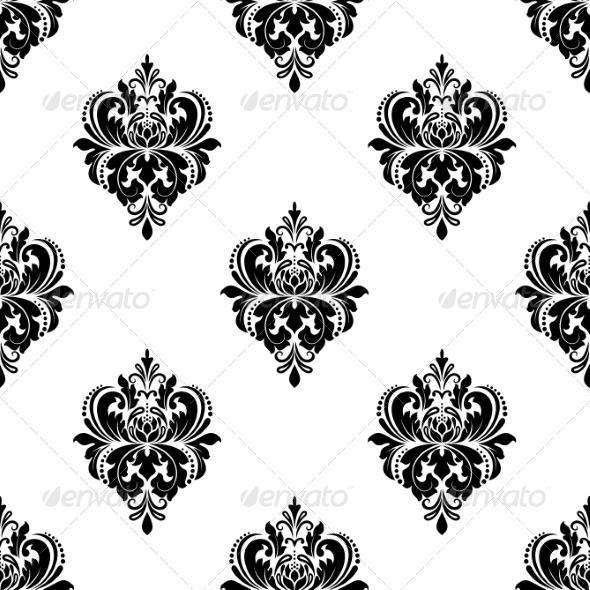 Floral Seamless Arabesque Pattern with Damask - Patterns Decorative