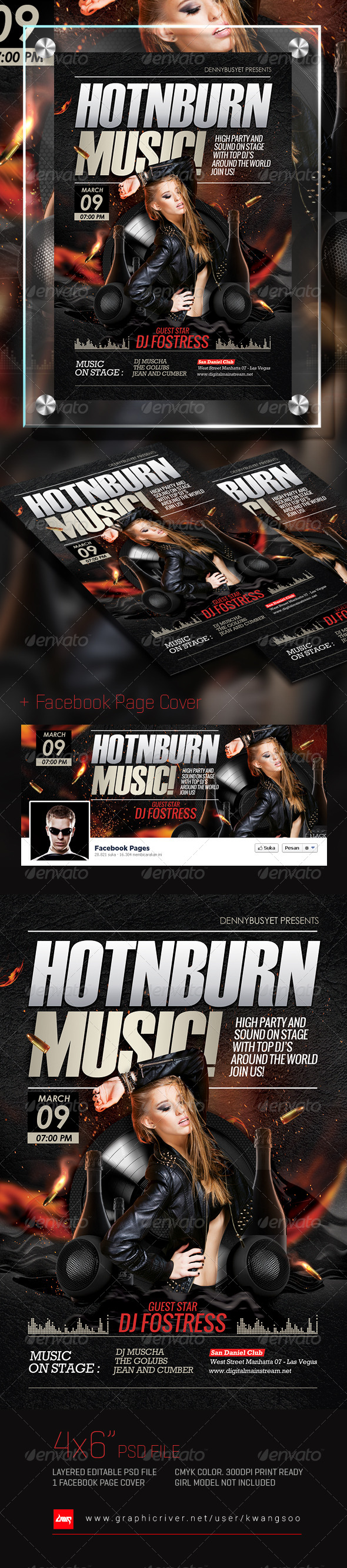 Hot And Burn Music Flyer + Facebook Cover - Events Flyers