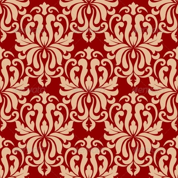 Ornate Arabesque Repeat Pattern on Red - Patterns Decorative