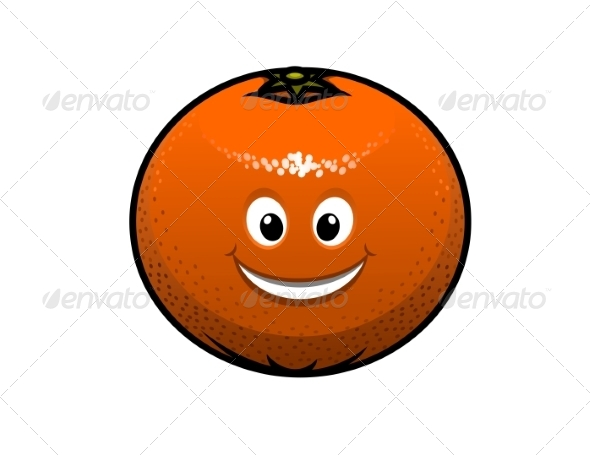 Cheerful Cartoon Orange Fruit - Food Objects
