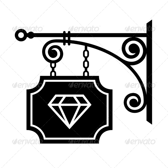 Ancient Street Signboard of Jeweler - Flourishes / Swirls Decorative