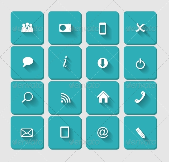 Flat Icon Set for Web - Web Technology