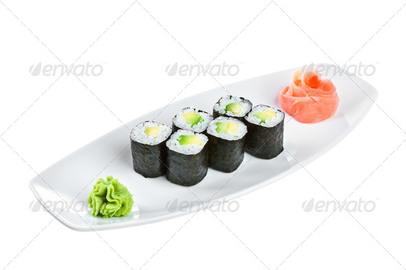 Sushi (Maguro maki roll shiroy) on a white background - Stock Photo - Images