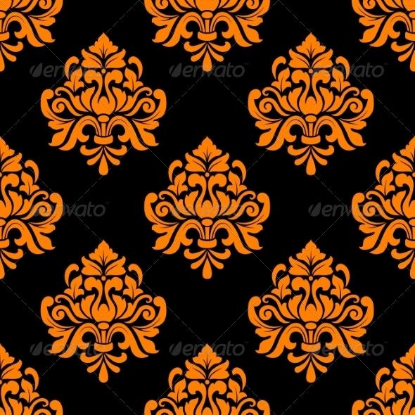 Black and Orange Seamless Floral Pattern - Patterns Decorative
