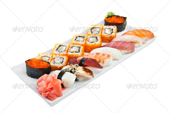 Sushi Roll on a white background - Stock Photo - Images