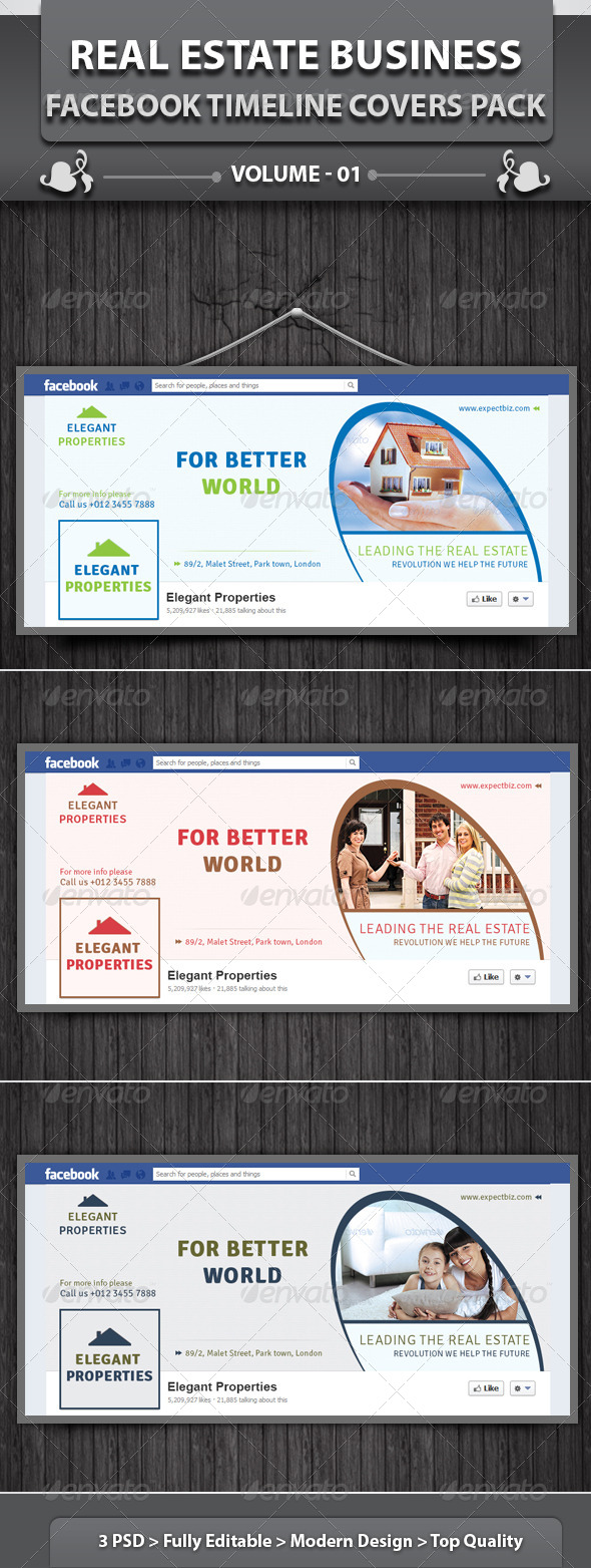 Real Estate Business FB Timeline | Volume 2 - Facebook Timeline Covers Social Media