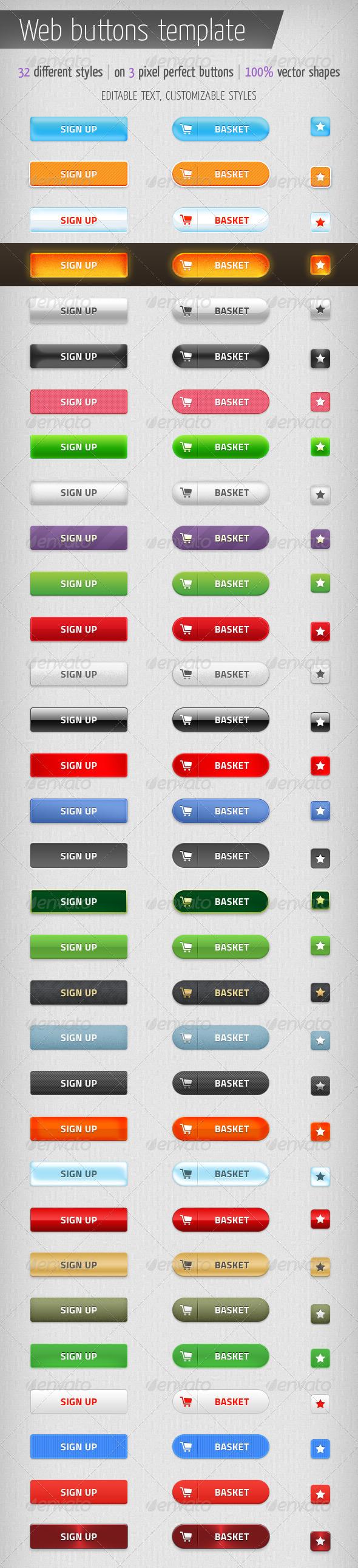 Web Buttons Template - Buttons Web Elements