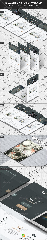 Isometric A4 Paper Mockup - Print Product Mock-Ups