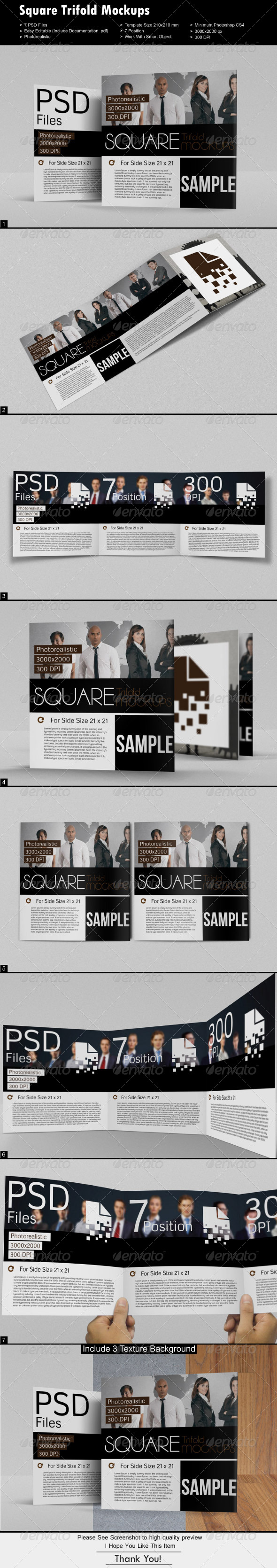 Square Tri-fold Mock-Ups - Brochures Print