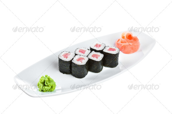 Sushi (Tekki Maki Roll) on a white background - Stock Photo - Images