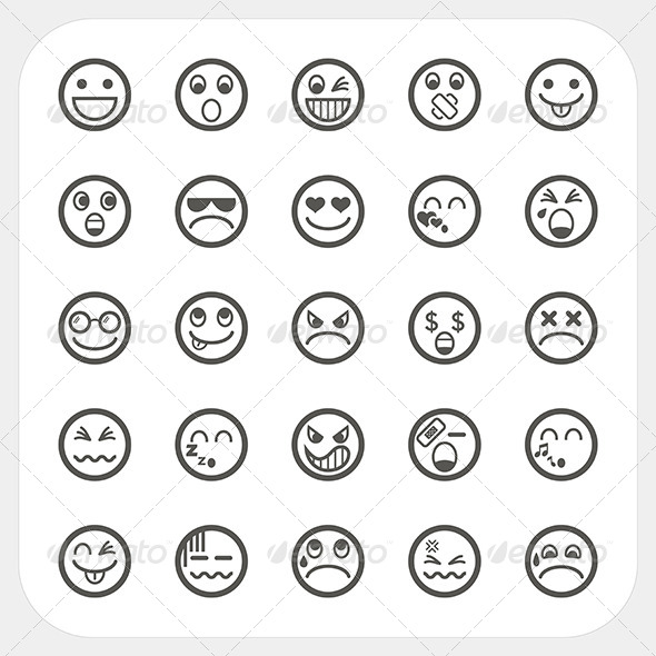 Emotion Face Icons Set - Characters Vectors