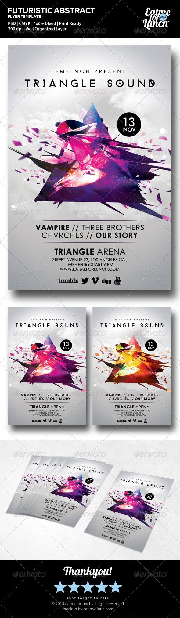 Futuristic Abstract Gigs Flyer Templates - Clubs & Parties Events