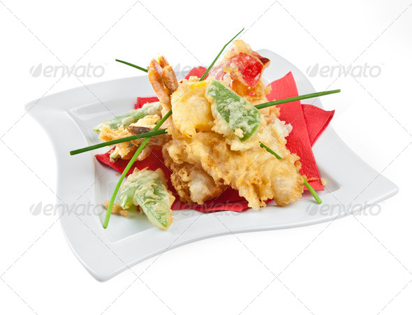 Prawns with vegetables in batter - Stock Photo - Images