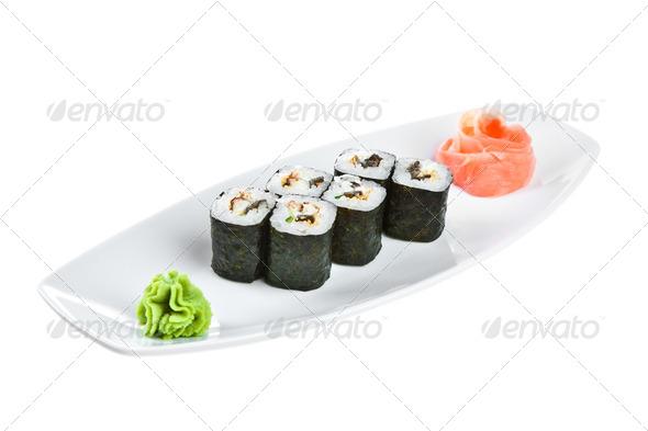 Sushi (Unagi Roll) on a white background - Stock Photo - Images
