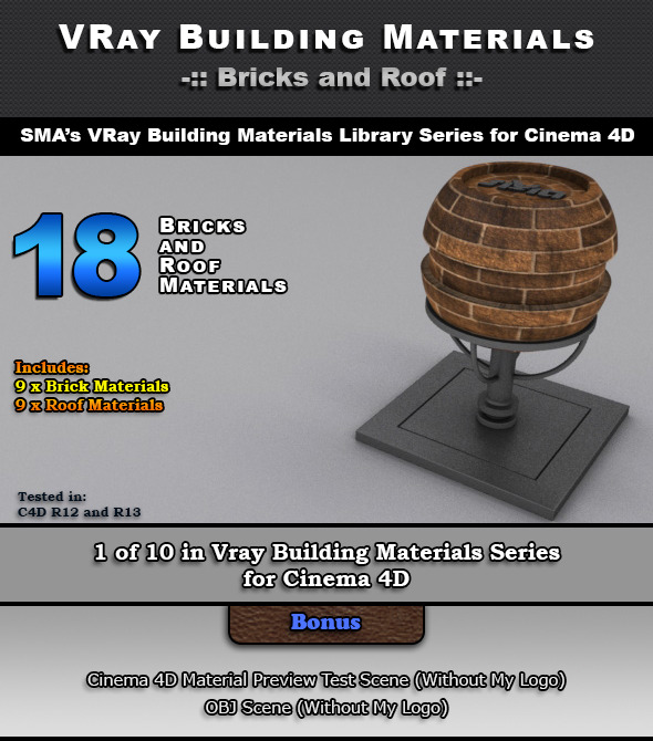 18 VRay Bricks and Roof Materials for Cinema 4D - 3DOcean Item for Sale