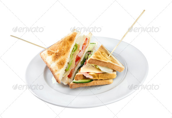 Two sandwiches on a plate - Stock Photo - Images