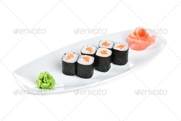 Sushi (Roll syake maki) on a white background - Stock Photo - Images