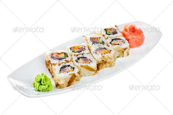 Sushi (Roll Kazuma) on a white background - Stock Photo - Images