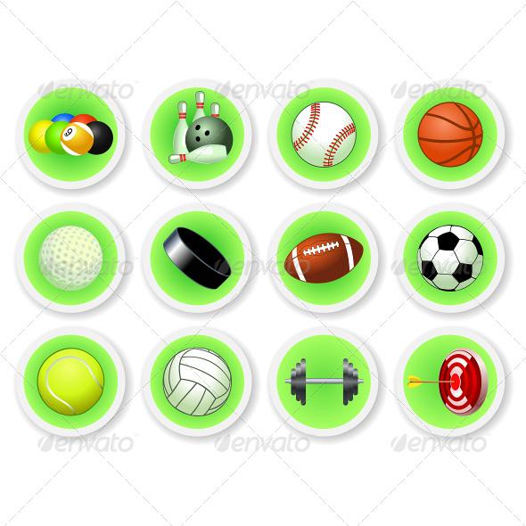 Sport Balls Icon Set - Sports/Activity Conceptual