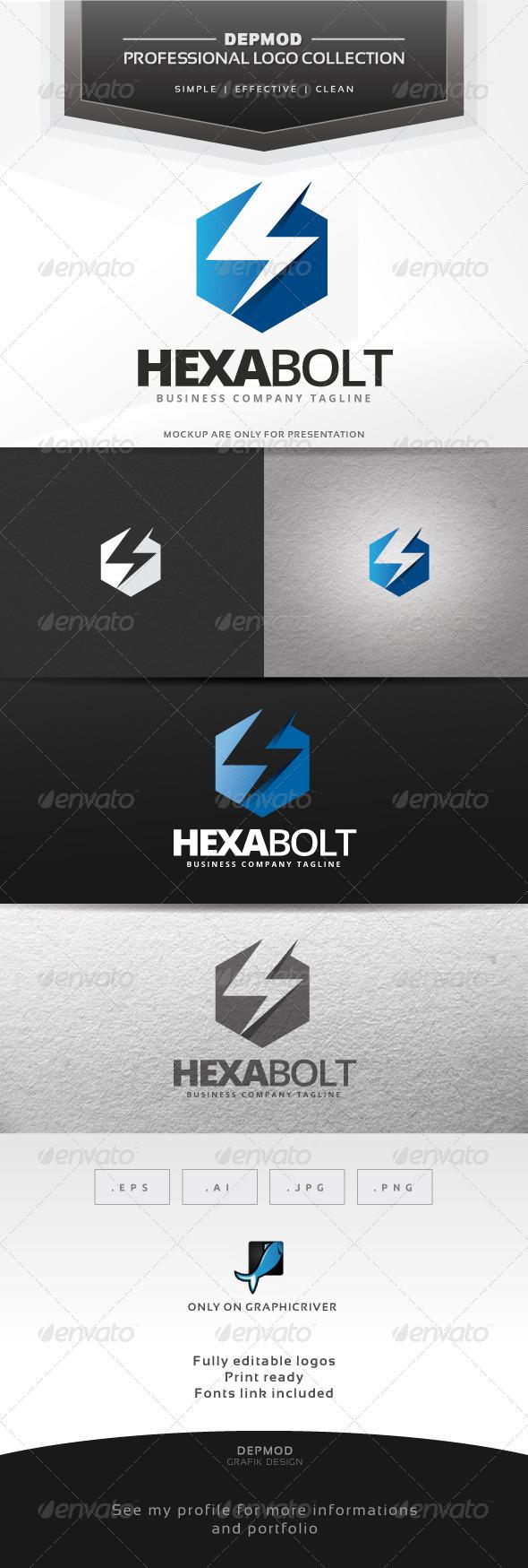 Hexa Bolt Logo - Symbols Logo Templates
